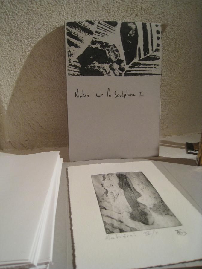Livre d'artiste Note sur la Sculpture I / Février 2016